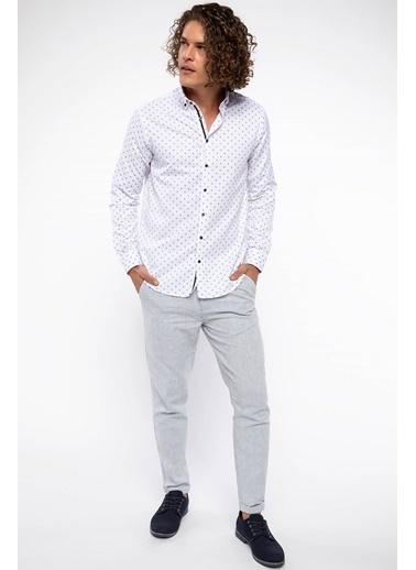 DeFacto Desenli Uzun Kol Gömlek Beyaz